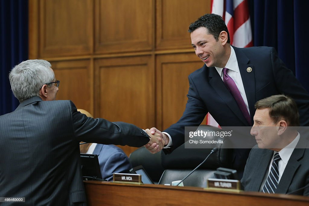 House Oversight and Government Reform Committee Chairman Jason Chaffetz (R-UT) and Rep. John Mica (R-FL) (R) greet Transportation Security Administration Adminstrator Peter Neffenger before the committee about lapses in TSA screening in the Rayburn House Office Building on Capitol Hill November 3, 2015 in Washington, DC. Leaked to the news media earlier this year, a TSA inspector general's report found that investigators were able to slip through airport security with weapons and phony bombs more than 95 percent of the time at different airports across the country, constituting 'significant breeches,' according to Homeland Security Inspector General John Roth.