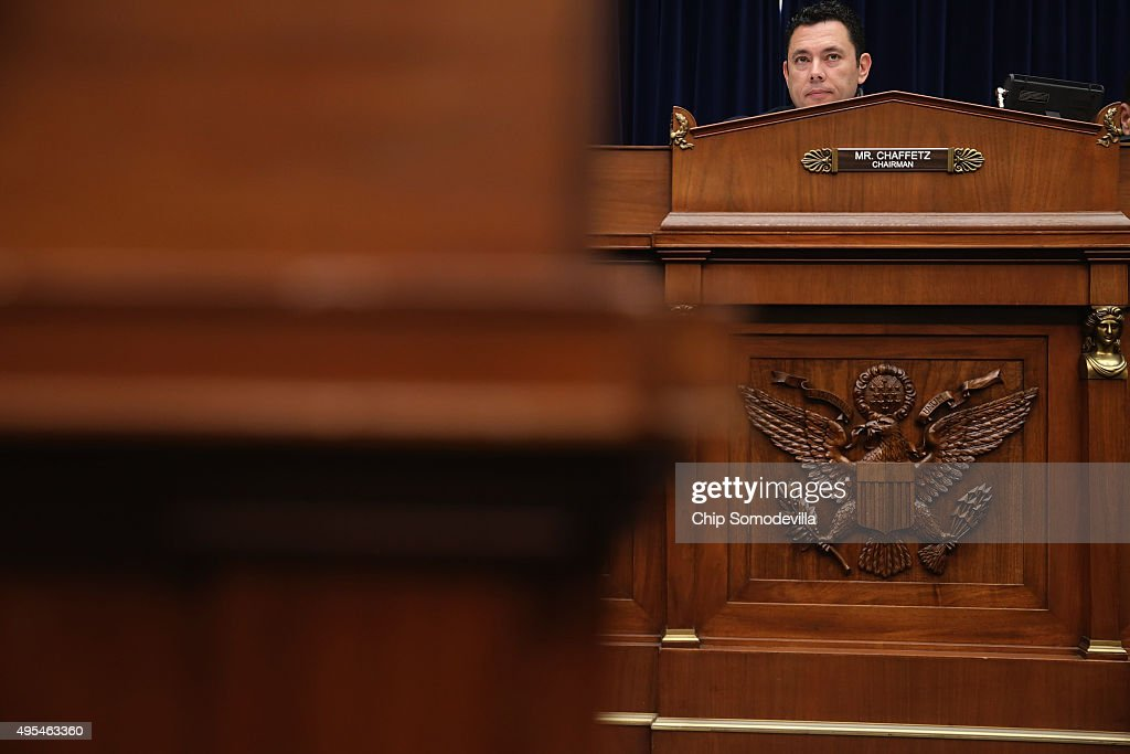 House Oversight and Government Reform Committee Chairman Jason Chaffetz (R-UT) presides over a hearing about lapses in TSA screening in the Rayburn House Office Building on Capitol Hill November 3, 2015 in Washington, DC. Leaked to the news media earlier this year, a TSA inspector general's report found that investigators were able to slip through airport security with weapons and phony bombs more than 95 percent of the time at different airports across the country, constituting 'significant breeches,' according to Homeland Security Inspector General John Roth.