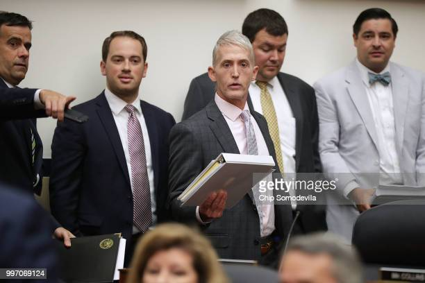 House Oversight and Government Reform Committee Chairman Trey Gowdy arrives for a joint hearing of his committee and the House Judiciary Committee in...