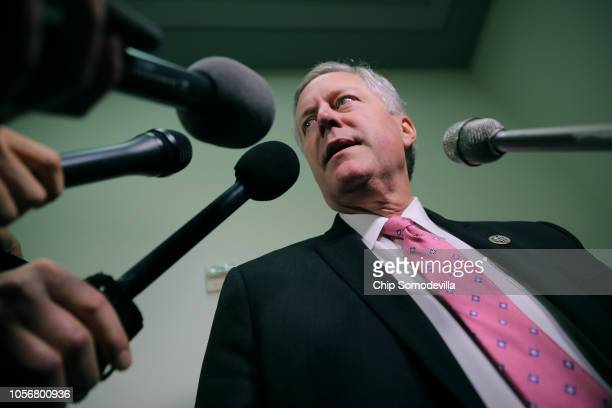 House Oversight and Government Reform Committee member Rep Mark Meadows talks with reporters in the Rayburn House Office Building on Capitol Hill...