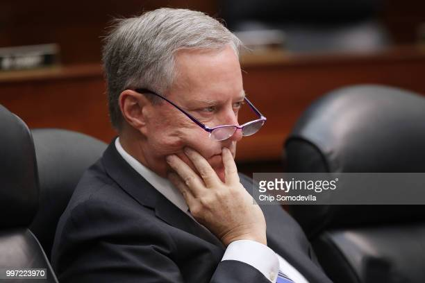 House Oversight and Government Reform Committee member Rep Mark Meadows listens to testimony from Deputy Assistant FBI Director Peter Strzok during a...