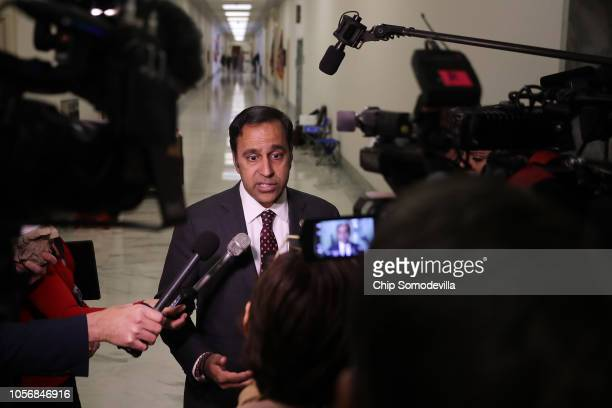 House Oversight and Government Reform Committee member Rep Raja Krishnamoorthi talks to journalists during a break in a closeddoor hearing in the...