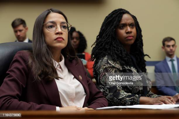 House Oversight and Government Reform Committee members Rep Alexandria OcasioCortez and Rep Ayanna Pressley attend a hearing on drug pricing in the...