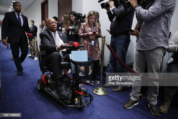House Oversight and Government Reform Committee ranking member Rep Elijah Cummings arrives for a Democratic caucus meeting in the US Capitol Visitors...
