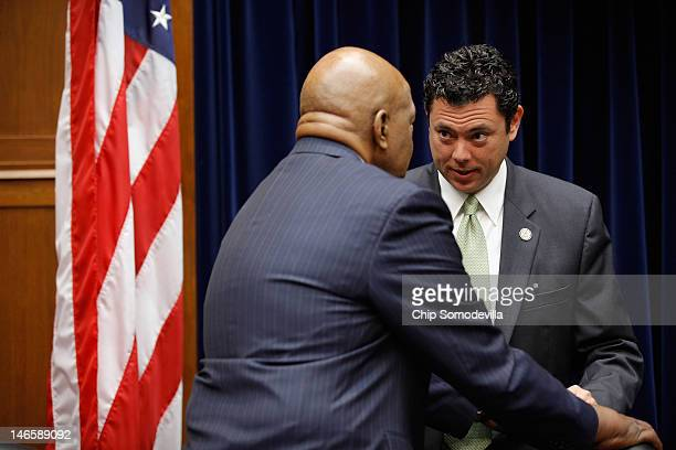 House Oversight and Government Reform raking member US Rep Elijah Cummings speaks with committee member US Rep Jason Chaffetz talk ahead of the start...