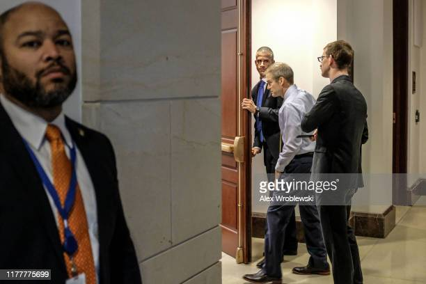 S House Oversight and Reform Committee ranking member Rep Jim Jordan enters a closed session before the House Intelligence Foreign Affairs and...