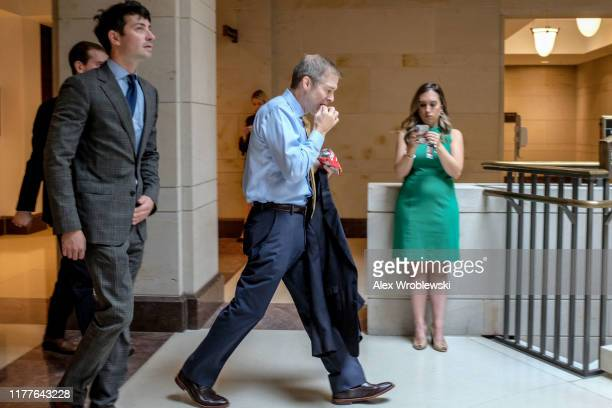 S House Oversight and Reform Committee ranking member Rep Jim Jordan returns to a closed session before the House Intelligence Foreign Affairs and...