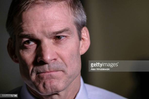 S House Oversight and Reform Committee ranking member Rep Jim Jordan pauses while speaking after a closed session before the House Intelligence...