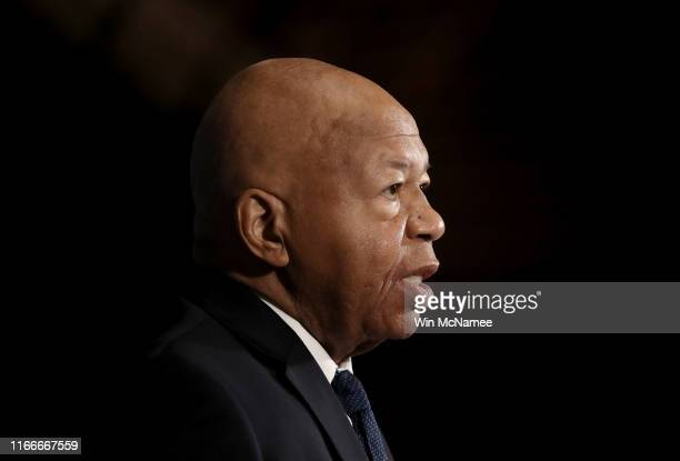 House Oversight ant Reform Chairman Rep Elijah Cummings speaks at the National Press Club August 7 2019 in Washington DC Cummings addressed members...
