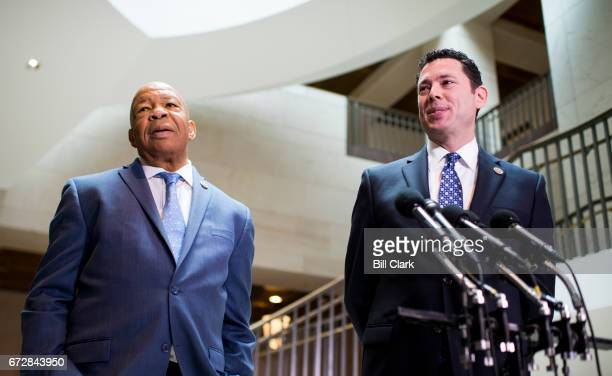 House Oversight Chairman Jason Chaffetz RUtah right and ranking Democrat Elijah Cummings DMd hold a press conference after a classified meeting of...