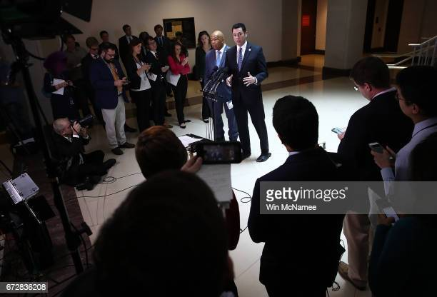 House Oversight Committee Chairman Jason Chaffetz and ranking member Rep Elijah Cummings speak to reporters about US President Donald Trump's former...