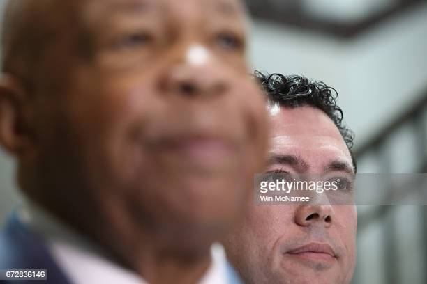 House Oversight Committee ranking member Rep Elijah Cummings and Chairman Jason Chaffetz speak to reporters about US President Donald Trump's former...