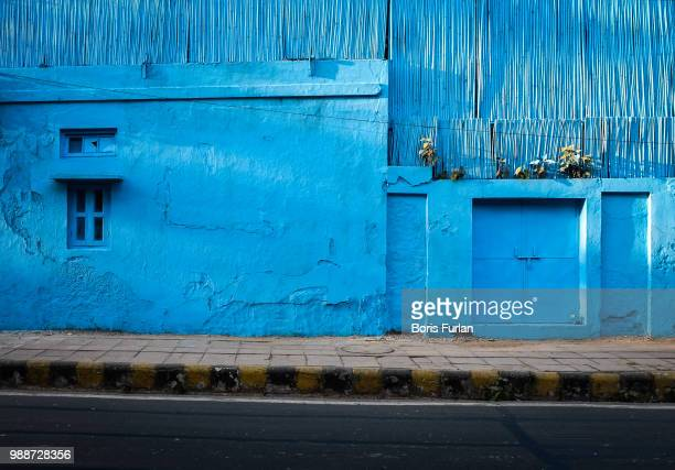 A house painted blue in India.