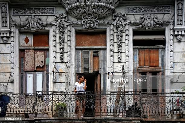 House. Paseo del Prado main street. Havana. Cuba island. West Indies. Central America.
