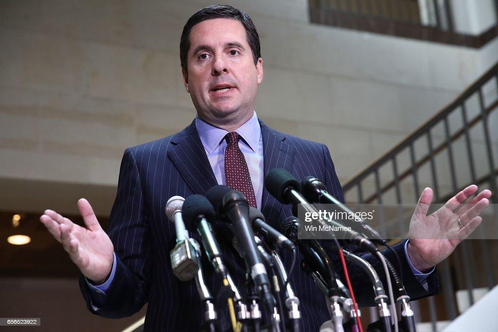 Rep. Devin Nunes Briefs Press On House Intelligence Cmte Russia Investigation : News Photo