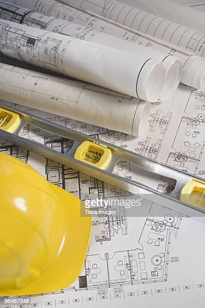 House plans level and construction helmet
