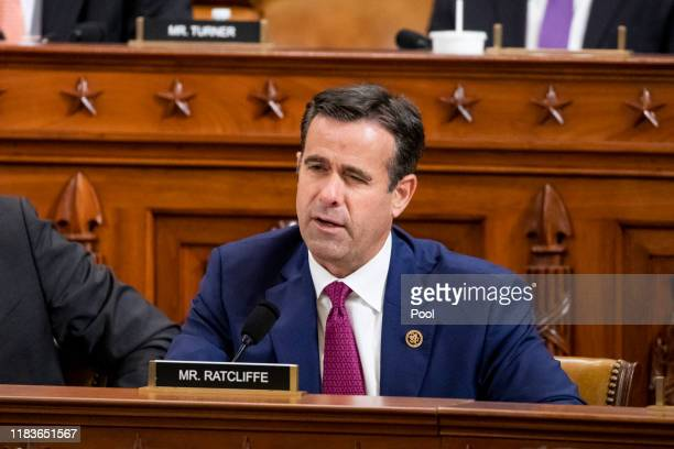 House Rep John Ratcliffe questions Gordon Sondland US Ambassador to the European Union before the House Intelligence Committee in the Longworth House...