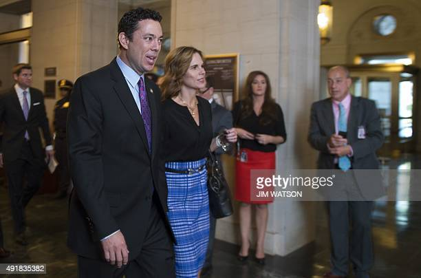 US House Representative Jason Chaffetz and his wife Julie arrive for the Republican nomination for Speaker of the House in the Longworth House Office...