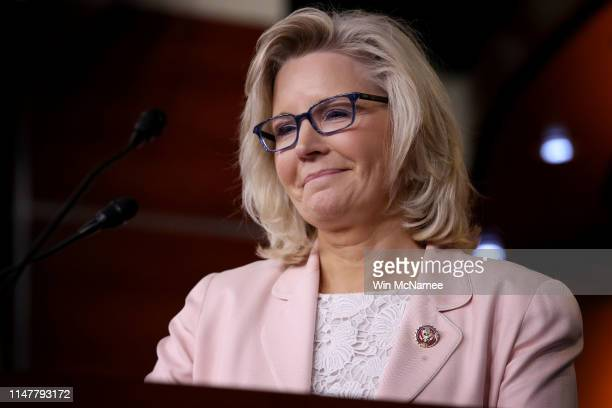 House Republican Conference Chair Liz Cheney answers questions during a press conference at the US Capitol on May 08 2019 in Washington DC Cheney...