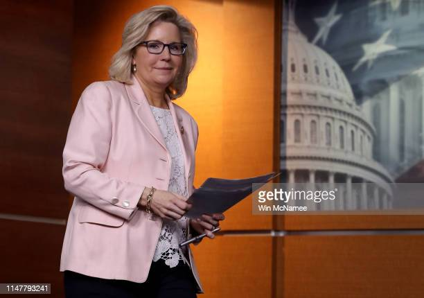 House Republican Conference Chair Liz Cheney arrives for a press conference at the US Capitol on May 08 2019 in Washington DC Cheney commented...