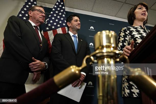 S House Republican Conference Chair Rep Cathy McMorris Rodgers speaks as Speaker of the House Rep Paul Ryan and Rep Neal Dunn listen during a news...