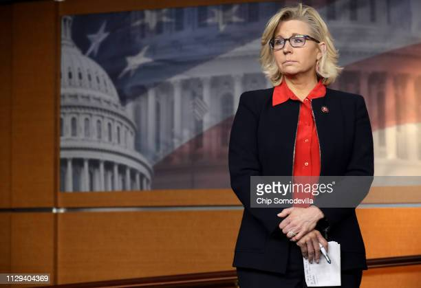 House Republican Conference Chair Rep Liz Cheney attends a news conference following a GOP caucus meeting at the US Capitol Visitors Center February...