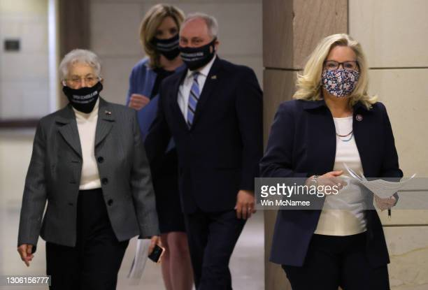 House Republican Conference Chair Rep. Liz Cheney departs a conference meeting at the U.S. Capitol with Rep. Virginia Foxx , Rep. Ashely Hinson and...