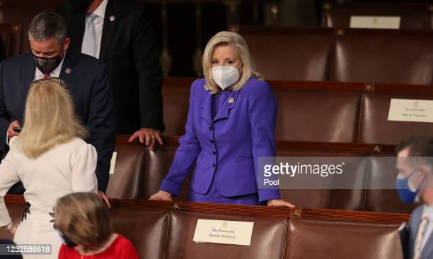 House Republican Conference Chairperson Rep. Liz Cheney waits for U.S. President Joe Biden to deliver his first addressto a joint session of the U.S....