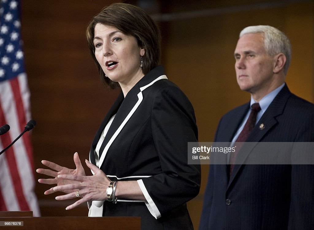 House Republican Conference vice chair Cathy McMorris Rodgers, R-Wash., and chairman Mike Pence, R-Ind., holds a news conference following the House Republican Conference on Tuesday, March 23, 2010.