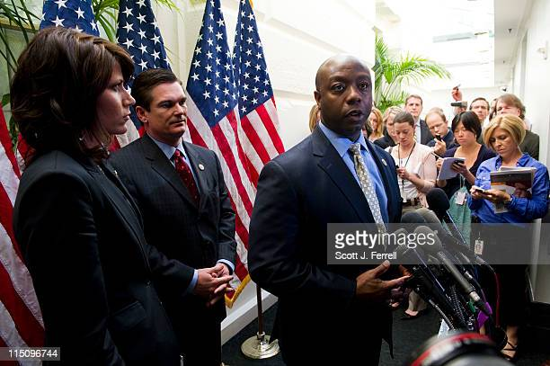 House Republican freshmen Rep Kristi Noem RSD Rep Austin Scott RGa and Rep Tim Scott RSC during a news conference after they and other GOP freshmen...