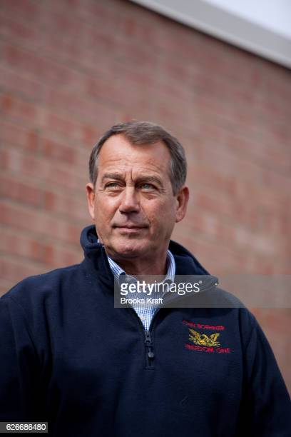 US House Republican Leader John Boehner campaigns for local candidates at a county campaign headquarters in Canton Ohio