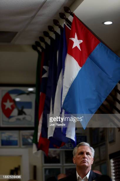 House Republican Leader Kevin McCarthy addresses the media during a press conference held at the Assault Brigade 2506 Honorary Museum on August 05,...