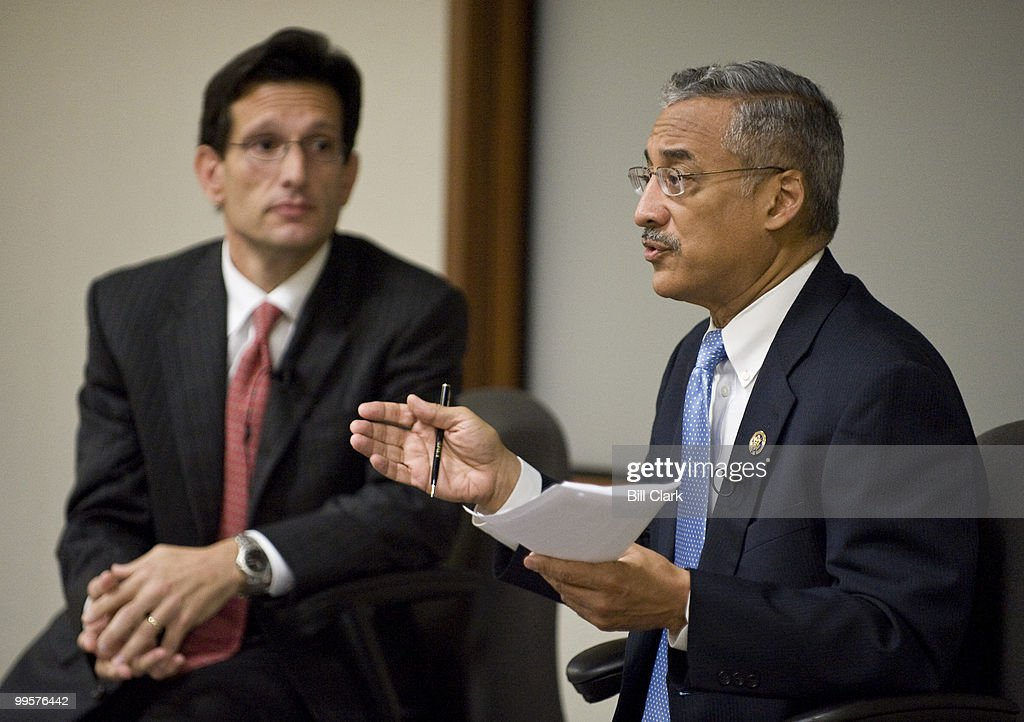 House Republican Whip Eric Cantor, R-Va., left, and Rep. Bobby Scott, D-Va., participate in the 'Public Square' event on health care reform, hosted by the Richmond Times Dispatch in Richmond, Va., on Monday morning, Sept. 21, 2009.