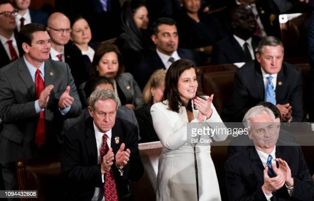 House Republicans including Rep Elise Stefanik RNY stand and applaud during President Donald Trump's State of the Union Address to a joint session of...