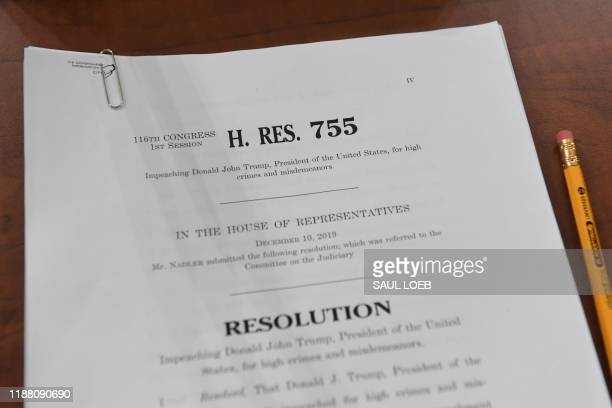House Resolution 755, Articles of Impeachment Against President Donald Trump, sit on a desk at the House Judiciary Committee on Capitol Hill in...