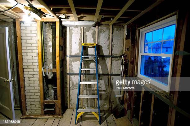 House restoration gutted kitchen with ladder