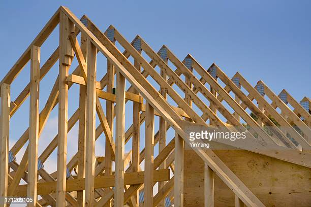 House Roof Wood Rafters, a Construction Frame of Building Industry