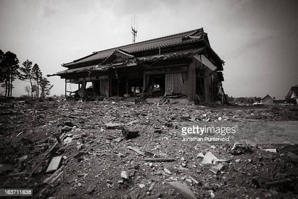 House ruined by the tsunami, 2 miles inland from the coast.