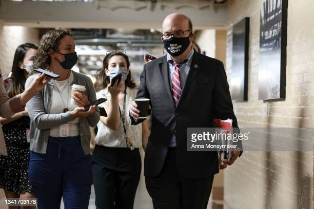 House Rules Committee Chairman Jim McGovern speaks to reporters as he leaves a House Democratic Caucus meeting at the U.S. Capitol on September 21,...