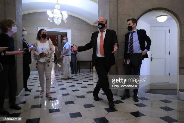 House Rules Committee Chairman Jim McGovern talks to reporters as he heads into office of U.S. House Speaker Nancy Pelosi for a late meeting at the...