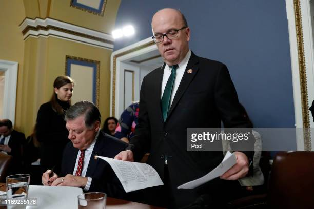 House Rules Committee chairman Rep. Jim McGovern arrives as ranking member Rep. Tom Cole looks on during a House Rules Committee hearing on the...