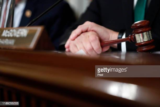 House Rules Committee chairman Rep. Jim McGovern holds the gavel during a House Rules Committee hearing on the impeachment against President Donald...