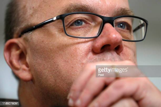 House Rules Committee chairman Rep. Jim McGovern listens during a House Rules Committee hearing on the impeachment against President Donald Trump on...