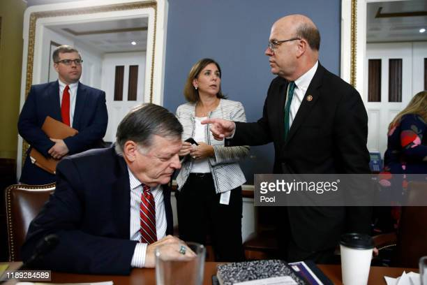 House Rules Committee chairman Rep. Jim McGovern, speaks to ranking member Rep. Tom Cole during a House Rules Committee hearing on the impeachment...