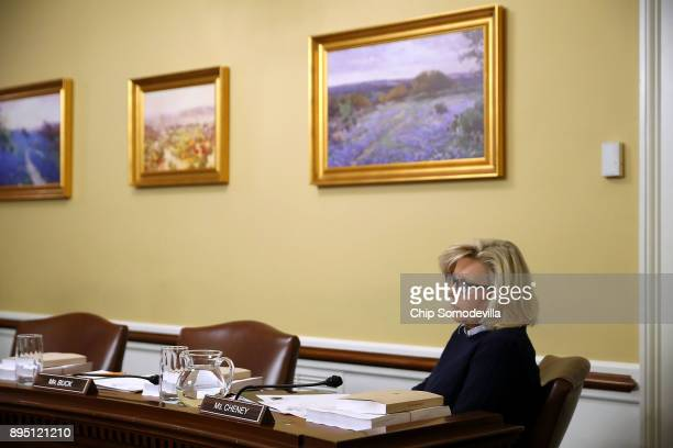 House Rules Committee member Rep Liz Cheney attends a hearing about the Tax Cuts and Jobs Act Conference Report at the US Capitol December 18 2017 in...