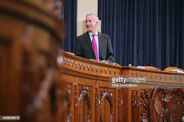House Select Committee on Benghazi Chairman Rep Trey Gowdy arrives for a hearing where Democratic presidential candidate and former Secretary of...