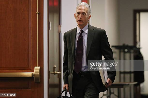 House Select Committee on Benghazi Chairman Trey Gowdy arrives for a closed door meeting in the House Visitors Center at the US Capitol June 16 2015...