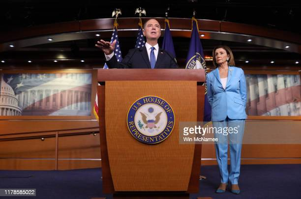 House Select Committee on Intelligence Chairman Rep Adam Shiff and Speaker of the House Nancy Pelosi answer questions at the US Capitol October 2...