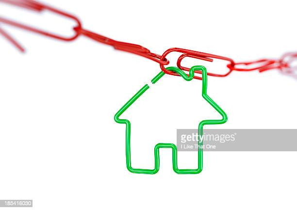 House shape attached to a paperclip chain