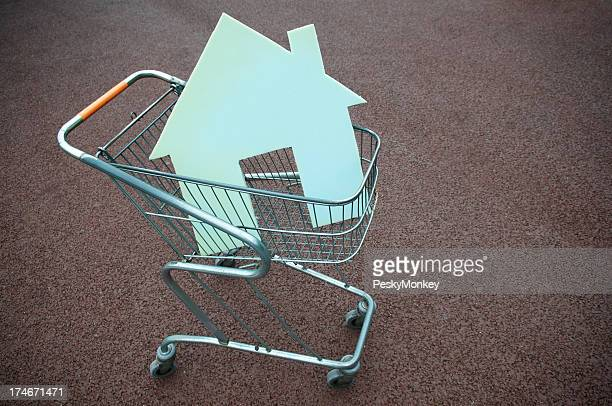 House Shape Sits in Shopping Cart